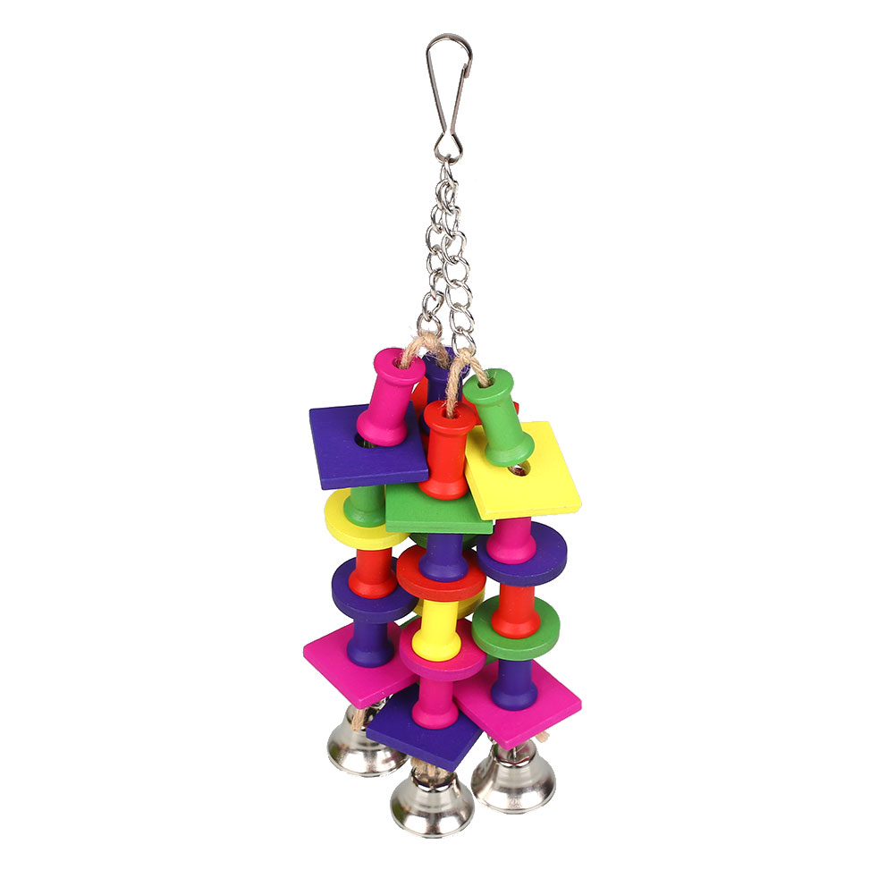 2017 Box Block With Bells String Chewing Swing Bird Toy Cages Safety Accessories