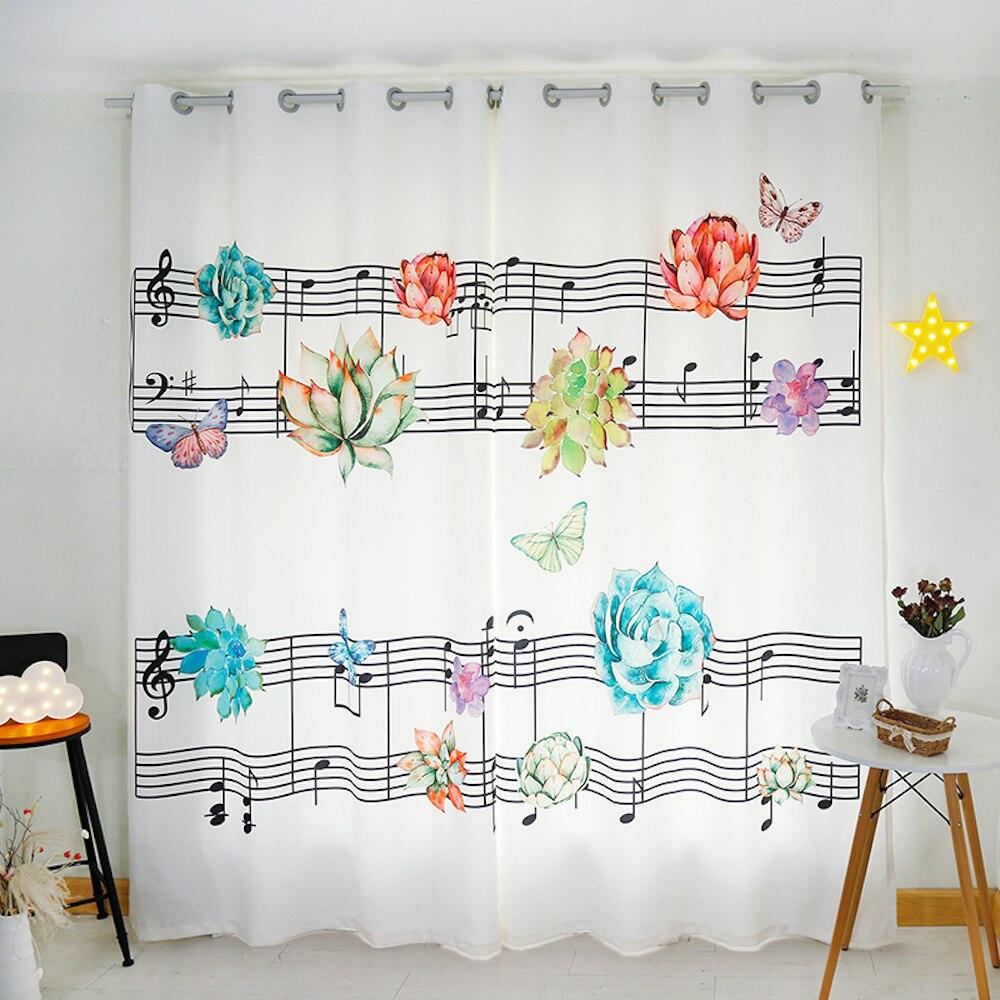 Tailleur personnel 2x oeillet crochet fenêtre rideau enfants chambre fenêtre Dressing Tulle 200x260 cm musique Stave fleur papillon