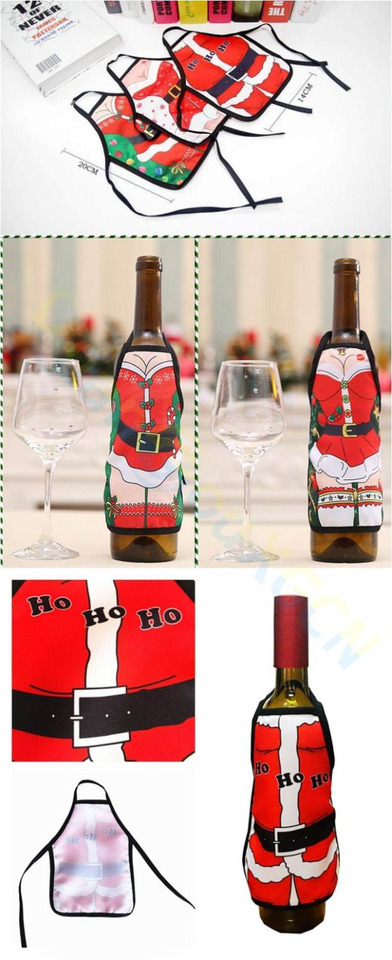 4 piezas de funda para botella de vino PRETYZOOM dise/ño de Pap/á Noel