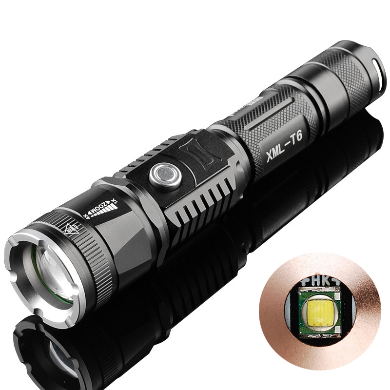 Direct Charging CREE XM-L T6 Zoomable LED Flashlight with Power Bank Function, 5 Files Adjustable Focus LED Torch + USB Cable adjustable cree xm l q5 t6 led flashlight zoomable with soft handle magnet flashlight torch rechargeable working