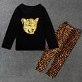 2017 весна детская одежда девушки устанавливает мода leopard с длинным рукавом хлопок девочка наборы для девочек дети подходит топ + леггинсы