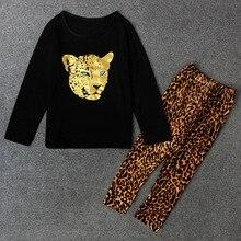 Весенняя детская одежда 2017, комплекты для девочек, модные хлопковые комплекты для маленьких девочек с длинным рукавом и леопардовым принто...