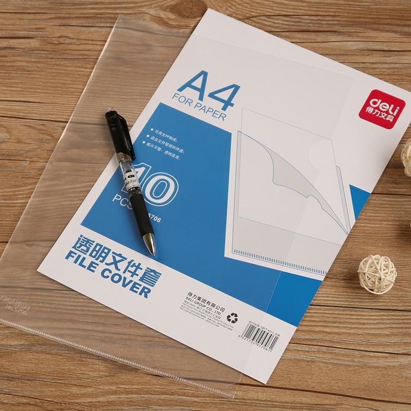 1 Pack 10 Pcs Office PP Transparent File Cover A4 File Bag For Documents Organizer Bag L Shaped Business Supplies Deli 5706