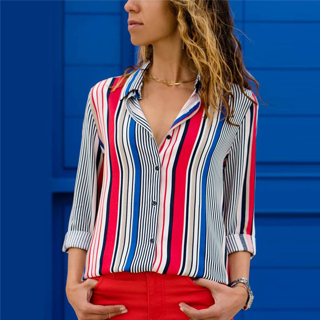 Blouses Women 2020 Leisure Long Sleeve Striped Shirt Turn Down Collar Lady Office Shirt Autumn Blouse Top Blusas Mujer Plus Size 4