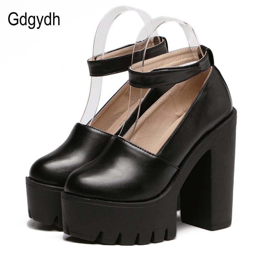 ФОТО Gdgydh Fashion Spring Women Pumps High Heels 2017 Spring Platform White Female Single Shoes Thick Heels Ladies Shoes Comfortable