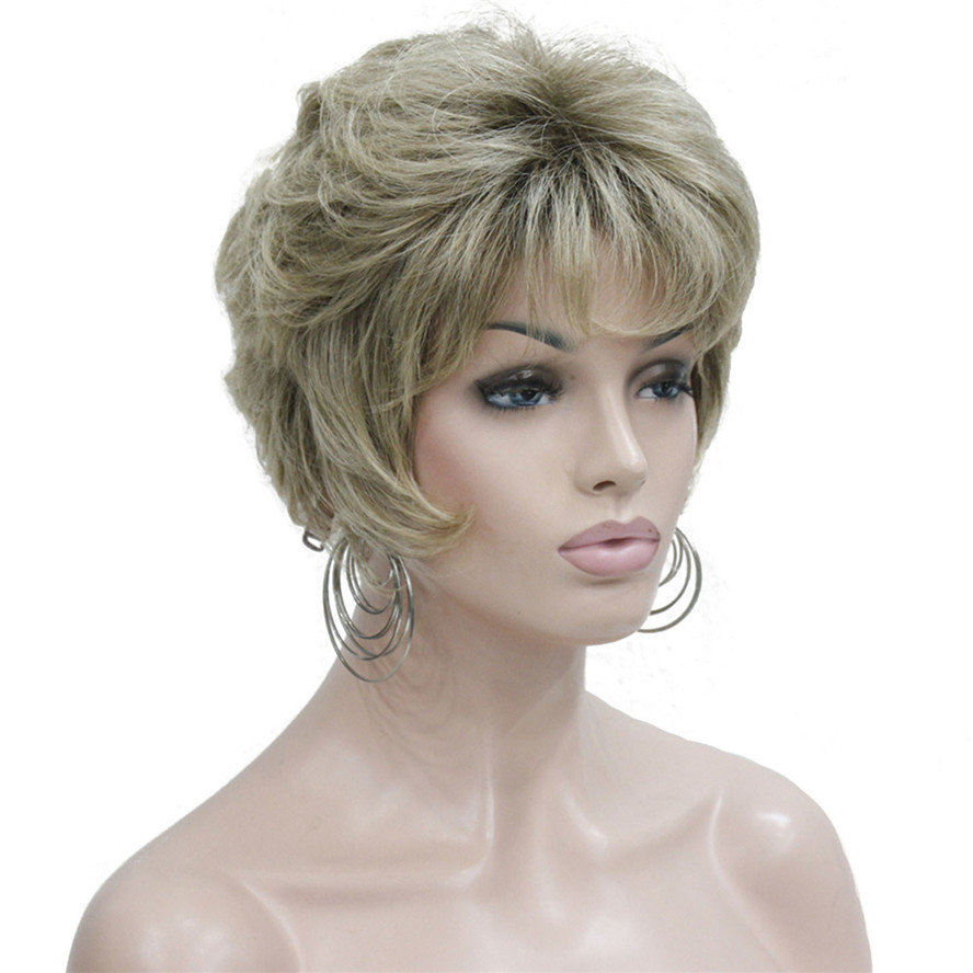 StrongBeauty Women's Wigs Natural Fluffy Ash Blonde Short Straight Hair Synthetic Full Wig