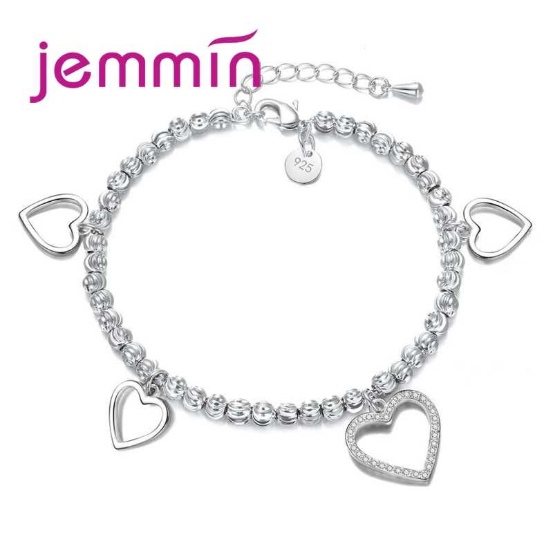 Top Sale Heart Charm Bracelets For Women Fashion 925 Sterling-silver-jewelry  Adjustable Pulseira Feminina