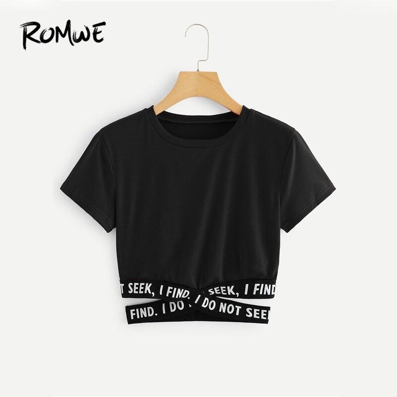ROMWE Contraste Cintura Criss Cross Tee Slogan 2019 Preto Elegante Manga Curta Em Torno Do Pescoço T do Gráfico Mulheres Verão Camisa Chique