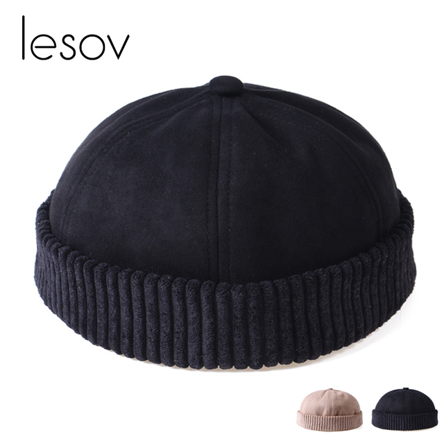 3d97083d9db Lesov Unisex Short Beanie Skullcap Men Women Faux Suede Autumn Winter Hat  Girls Skullcap Brimless Cap Cotton Lining Sailor Caps