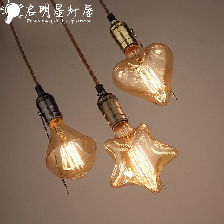 Lampe pendante en verre de loft rétro de pays américain grande lumière de barre de restaurant de café de tête simple