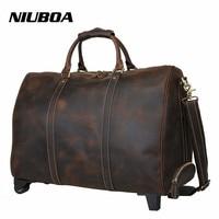 100% Genuine Leather Travel Bag Men 30 Real Leather Duffel Bag Luggage with Drawbar Travel Bag Men Big Business Top Duffle Bags