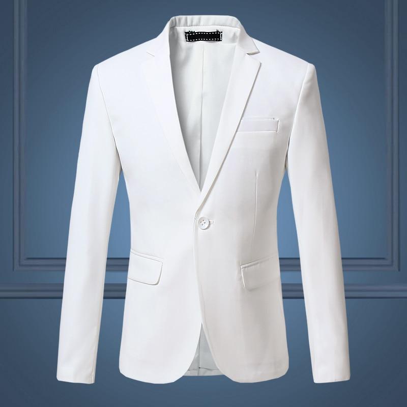 Мужской деловой костюм, Тонкий Повседневный Белый костюм большого размера, однотонный блейзер