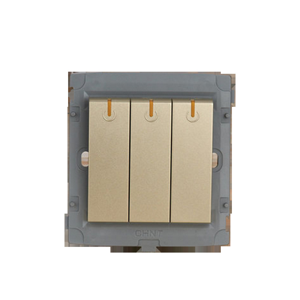 CHINT Photocell Light Switch 86 Type Wall Switch Socket Light Champagne Gold Five Hole Three Gang Two Way scinder switched socket package 15 steel frame two or three five hole electrical outlet wall switch panel switch