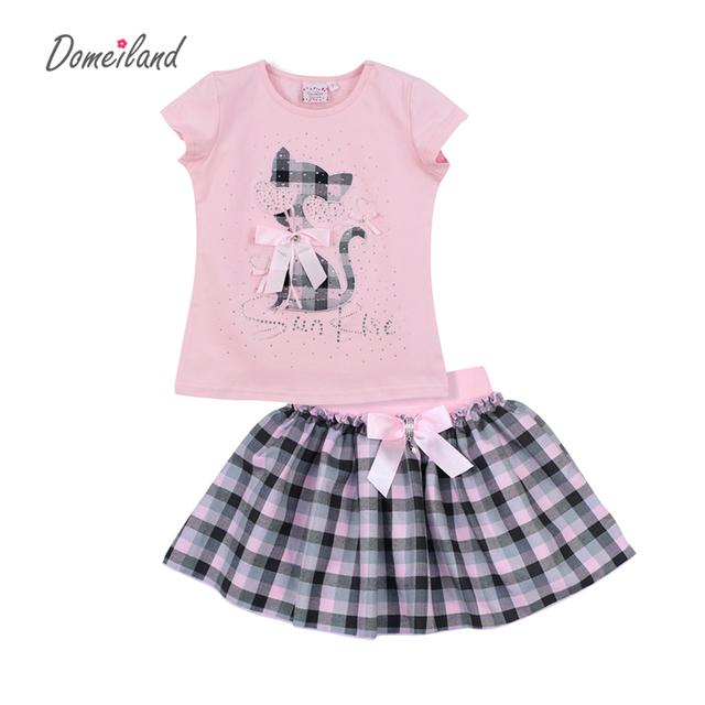 2017 moda verão roupa das crianças define crianças roupas menina cópia do gato de manga curta tops de algodão arco saia ternos roupa do bebê