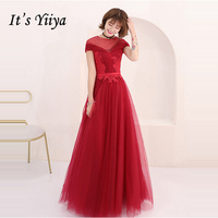 It's Yiiya Evening Dresses Wine Red Embroidery 2018 Custom made A Line Tulle Floor Length Elegant Formal Dress LX975