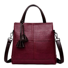 Three pockets Vintage Women Bag Ladies Brand Leather Handbags Winter Casual Tote Bag Big Shoulder Bags For Women 2018 Sac A Main