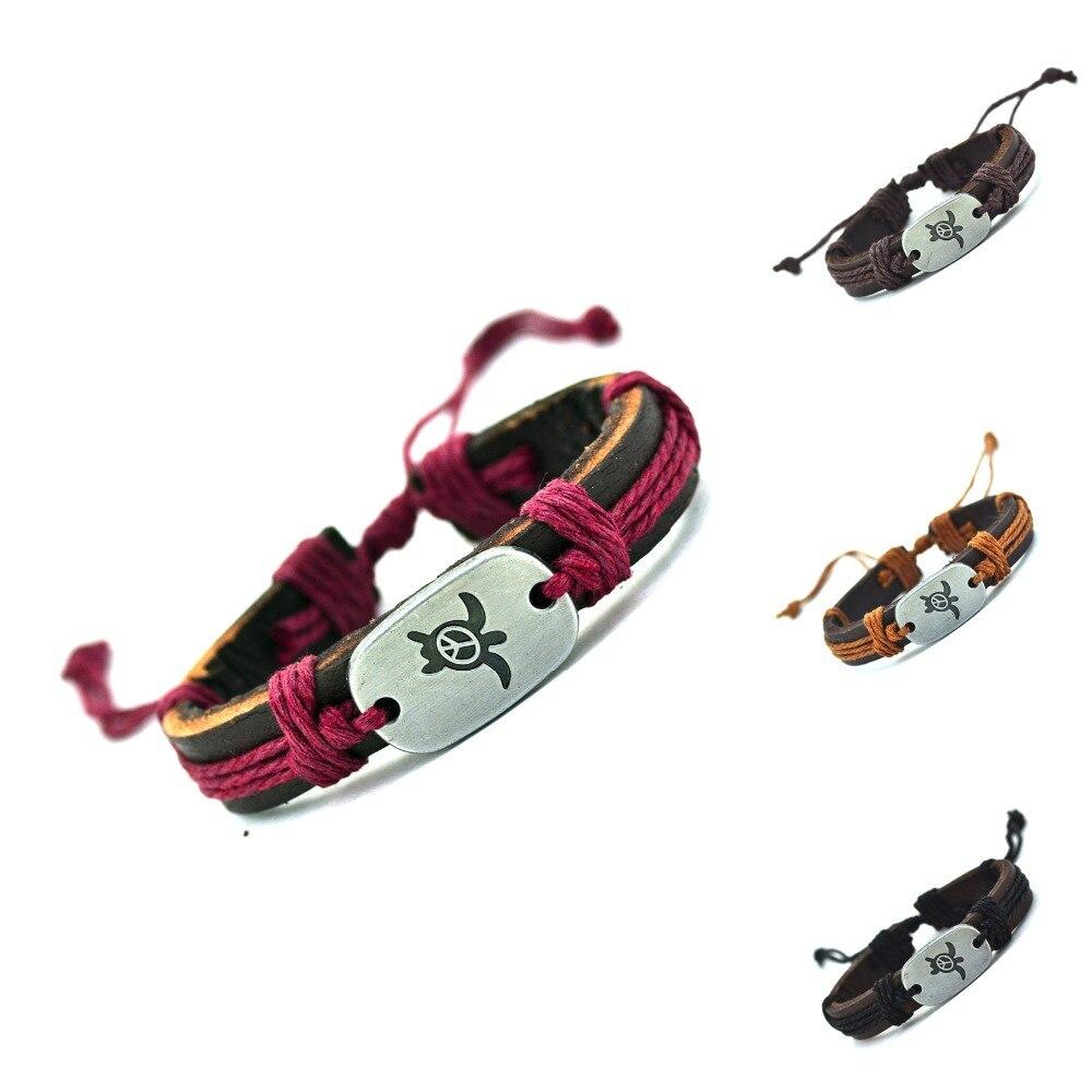 026f78911118 Jiayiqi 2017 paz tortugas pulsera del encanto del cuero genuino brazalete  trenzado brazalete y brazaletes de brazalete