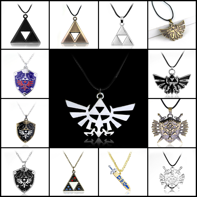 Аниме игры Легенда о Zelda Цепочки и ожерелья Triforce Посеребренная Подвеска Меч Щит Цепочки и ожерелья