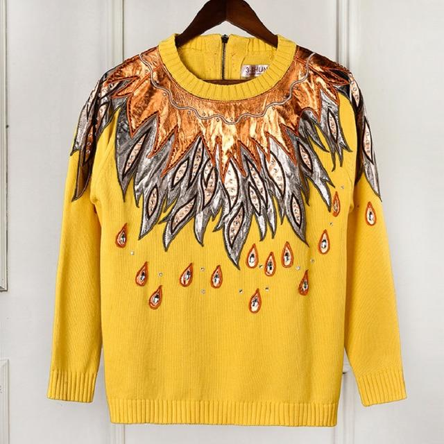купить 2018 осень зима элитный бренд блестящие перо вышивка желтый