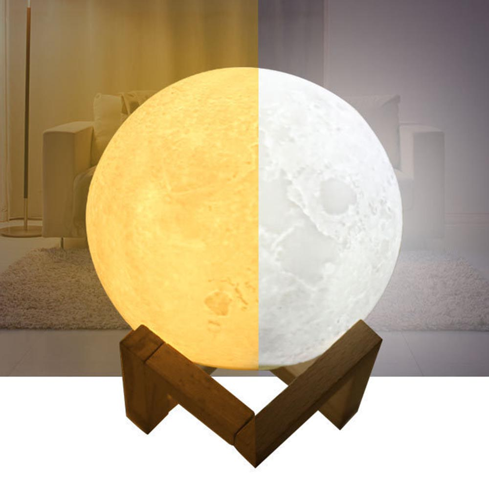 Moon Night Light Lamp 3D Printing Lunar Nightlight USB Rechargeable Charging Touch Control Warm / White Baby Children Gift HQ