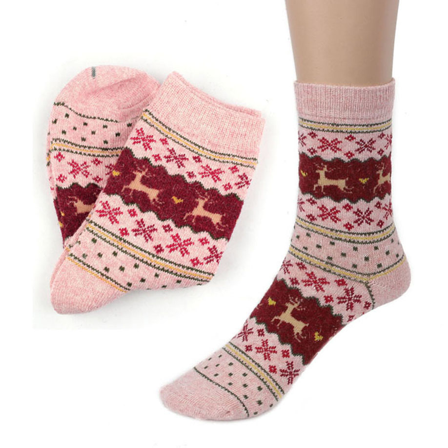 MUQGEW Hot Sale Popular Christmas Deer Design Casual Knit Wool Socks High Quality Warm Winter Mens Women Comfortable Socks Soxs