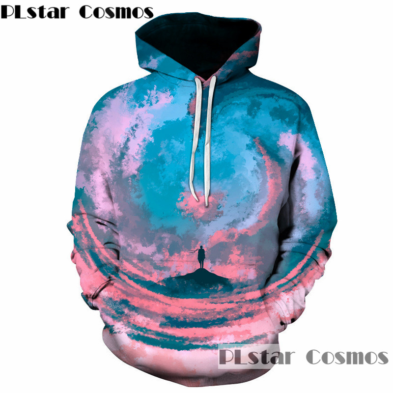 PLstar Cosmos New Design Paiting Hooded Sweatshirt fashion Outerwear A small Person in Universe 3D Hoodies Men Women Pullovers