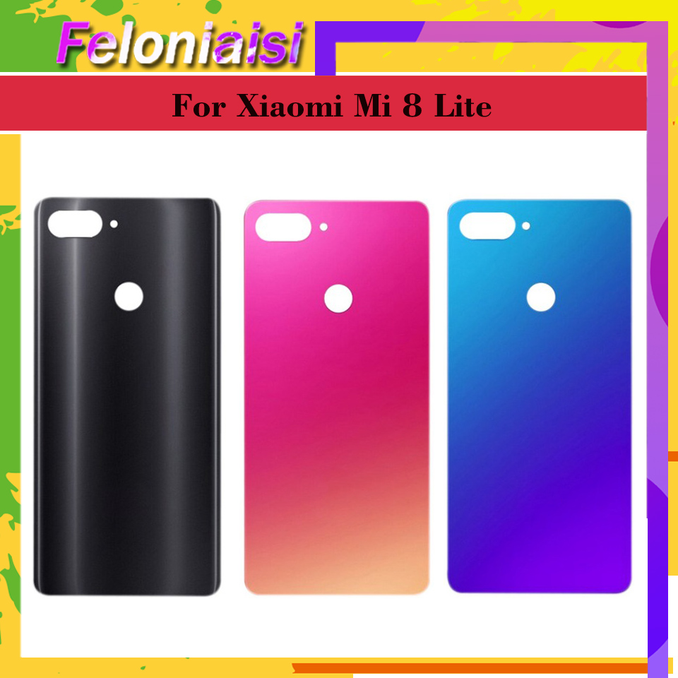 For <font><b>Xiaomi</b></font> <font><b>Mi</b></font> <font><b>8</b></font> Lite mi8 lite <font><b>Battery</b></font> Back <font><b>Cover</b></font> Rear Door Housing Side Key Replacement Repair Spare Parts Replacement image