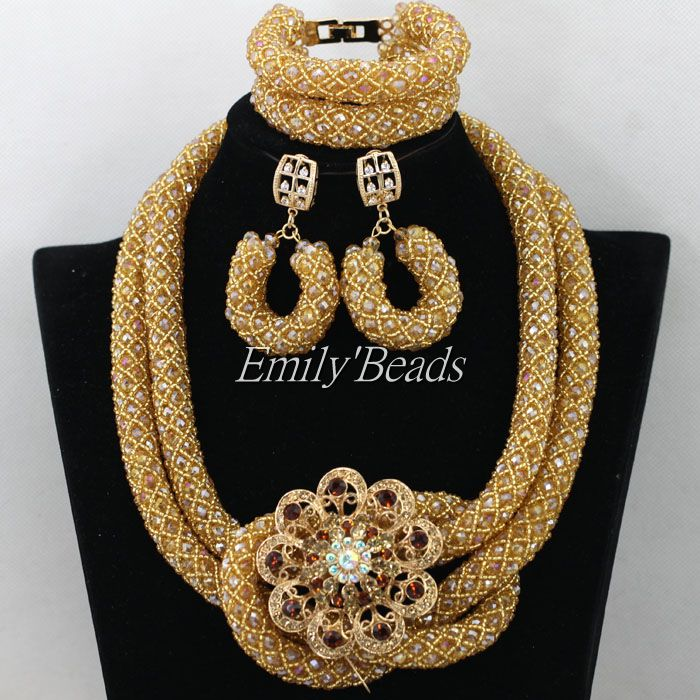 Luxury Champagne Gold African Beaded Jewelry Set Nigerian Wedding Crystal Beads Necklace Set Bride Gift Free Shpping AIJ642 цена и фото