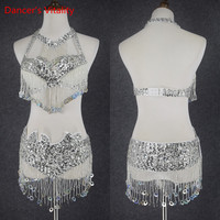 Hot Design Handmade Beaded Belly Dance Costume Wear Bra+Belt 2piece/ Set Ladies Bellydancing Costumes Women Dancing Wear