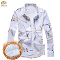 2017 New Hot Large Size 100%Cotton Print Men Shirt M~5XL Brand Clothing Camisa Social Masculina Long Sleeve White Chemise Homme
