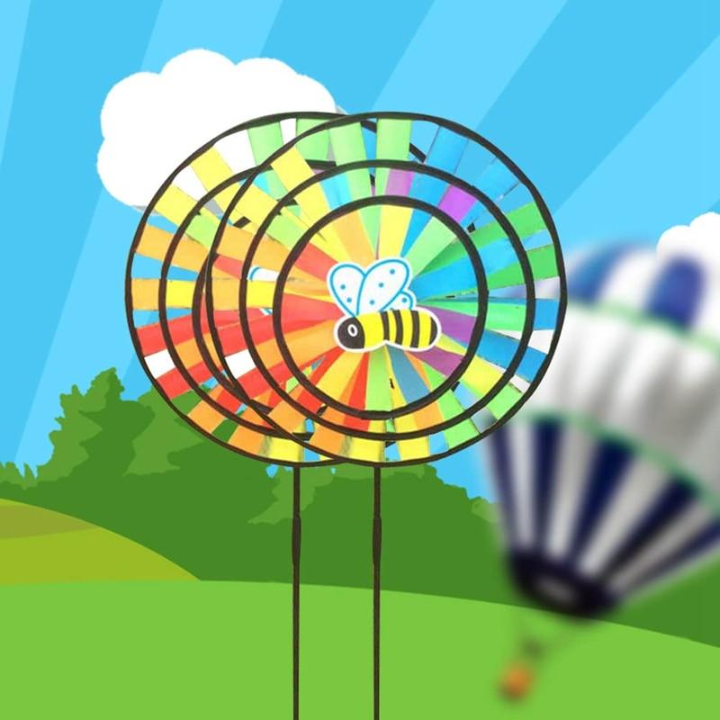 Kids Toys random New Colorful Rainbow Children`s Toy Garden Yard Outdoor Triple Wheel Windmill Round Cloth Windmill