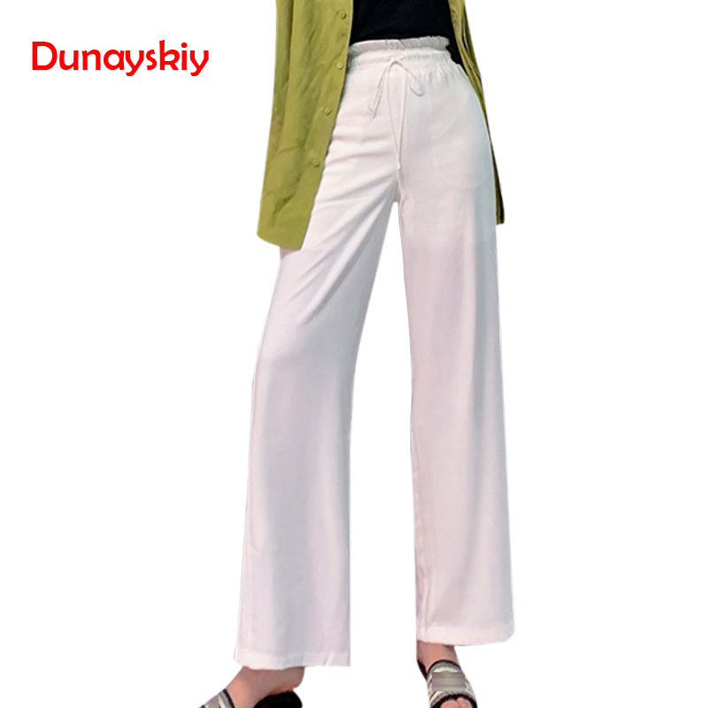 Women Summer Flare   Wide     Leg     Pants   Casual High Elastic Waist Harem   Pants   Loose Belt White 2019 Female