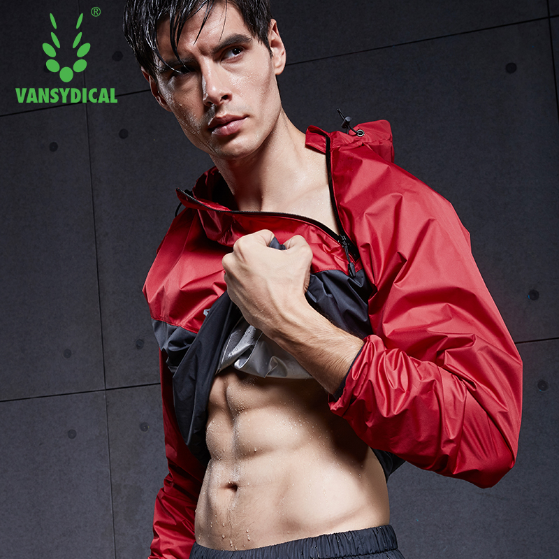 2018 VANSYDICAL Men Sports Running Jacket Sweat Lose Weight Sportswear Men Sport Sets Gym Cloth Fitness Training Track Jacket