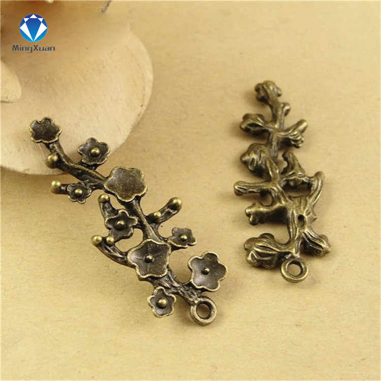 MINGXUAN 10pcs 42x15mm Antique Bronze Plum blossom Charm Pendant for Diy Necklace Jewelry Making Handmade Craft C893