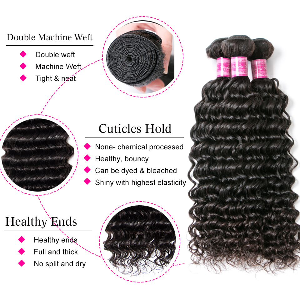 Beaufox Brazilian Deep Wave Bundles With Closure Human Hair Bundles With Closure Remy Brazilian Hair Weave Bundles With Closure 2