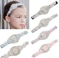Luxe Baby Girl Toddler Infant Headband Faux Pearls Rhinestone Hairband Bride Wedding Headwear Fashion Party Accessory