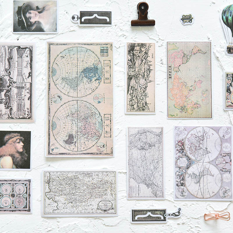 Retro Map/thing Vintage Hand Account Stickers Decorative Planner Stickers DIY Diary Scrapbooking Phone Index Seal Stickers