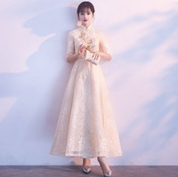 Fashion Wedding Party Cheongsam Oriental Evening Dress Chinese Style Women Elegant Qipao Sexy Long Robe Retro Vestido S XXL