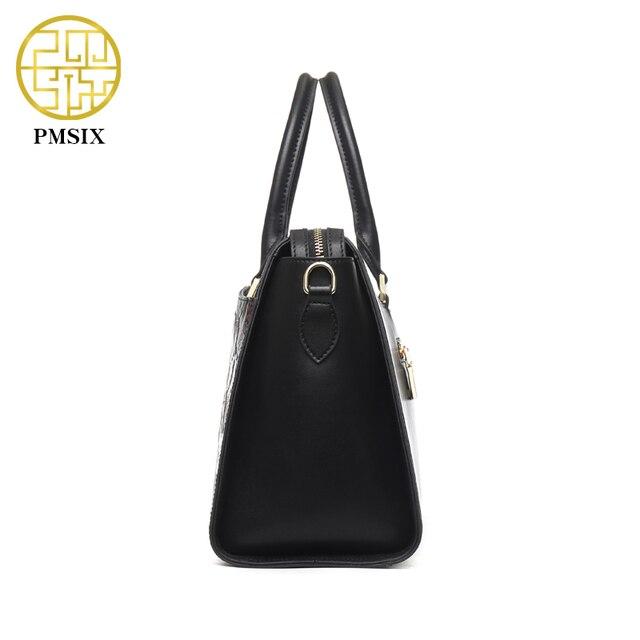 Pmsix Autumn Winter New Women Leather Handbags Embossed Flower Luxury Designer Shoulder Bags Fashion Vintage Tote Bag P110023
