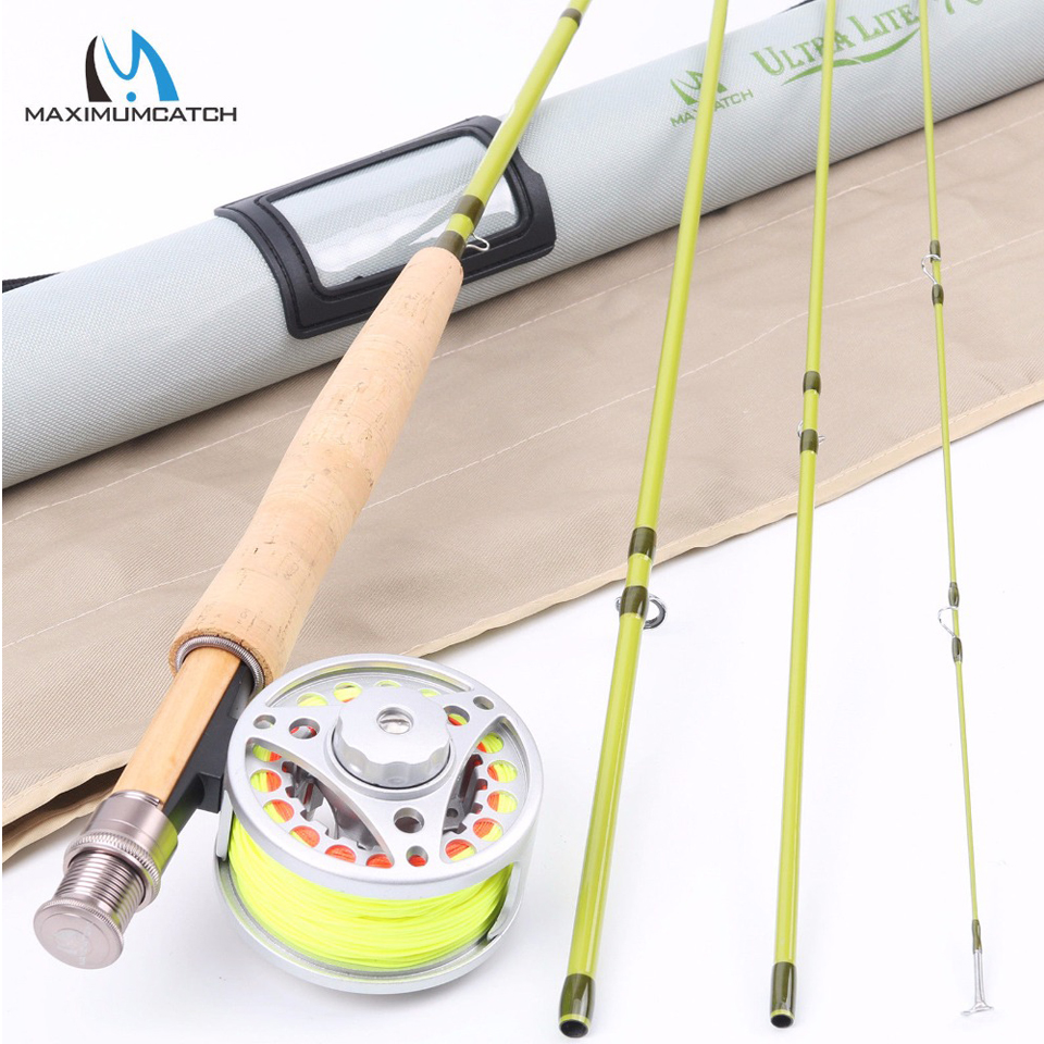 Maximumcatch 1/2/3 WT 6'-7'6''Super Light Carbon Fly Fishing Rod & Aluminum Reel & Line Combo наклейки 3 3d