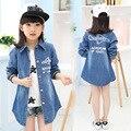 Девушки Студенты Осень Дети Джинсы Куртки Рубашки Детей Clothing Синие Буквы Печати