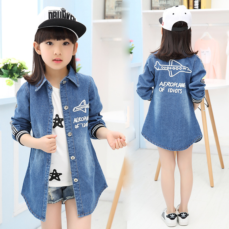 Girls Students Fall Kids Denim Jeans Jackets Shirts Children Clothing Blue Letters Printing