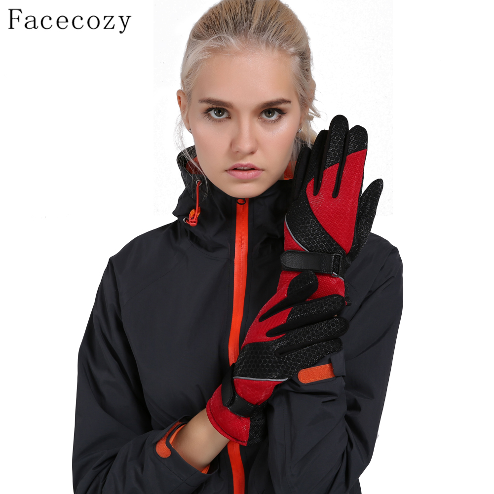 Facecozy Women Winter Anti-Slip Skiing Gloves Warm Coral Fleece Anti-Tear Fasten Windproof Glove Outdoor Sports Punk Moto Gloves