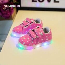 Модные детские светящиеся туфли со звёздным принтом обувь на плоской подошве для девушек светодиодный светящиеся туфли нескользящая подош...