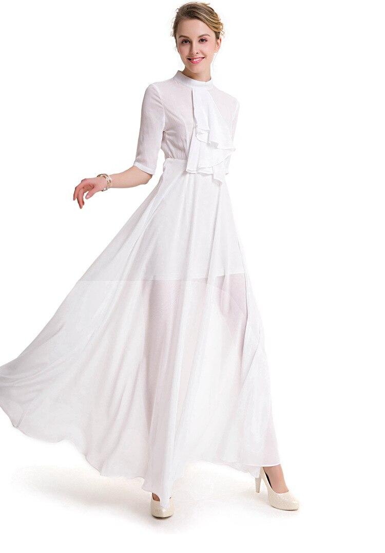 Fashion Cute Women Summer Slim Bohemian A-line Mandarin Collar Dress Large Swing Half Sleeve Dress Xhsdz-109 Mild And Mellow Dresses
