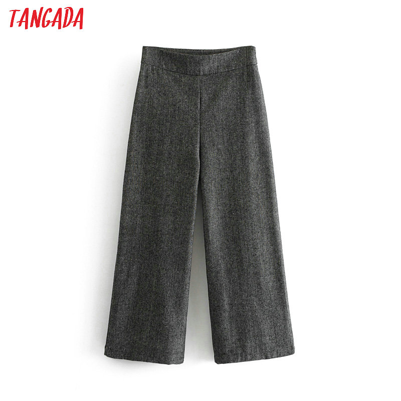 Tangada Women Gray Suit Pants Pockets Retro Office Ladies Work Pants Elegant Wide Leg Pants Chic Trousers Pantalones Mujer DA02