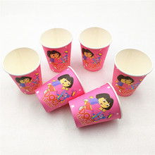 10pcs/lot Dora Paper Cup Cartoon Theme Party For Children/Girls Happy Birthday Decoration Supplies Festival