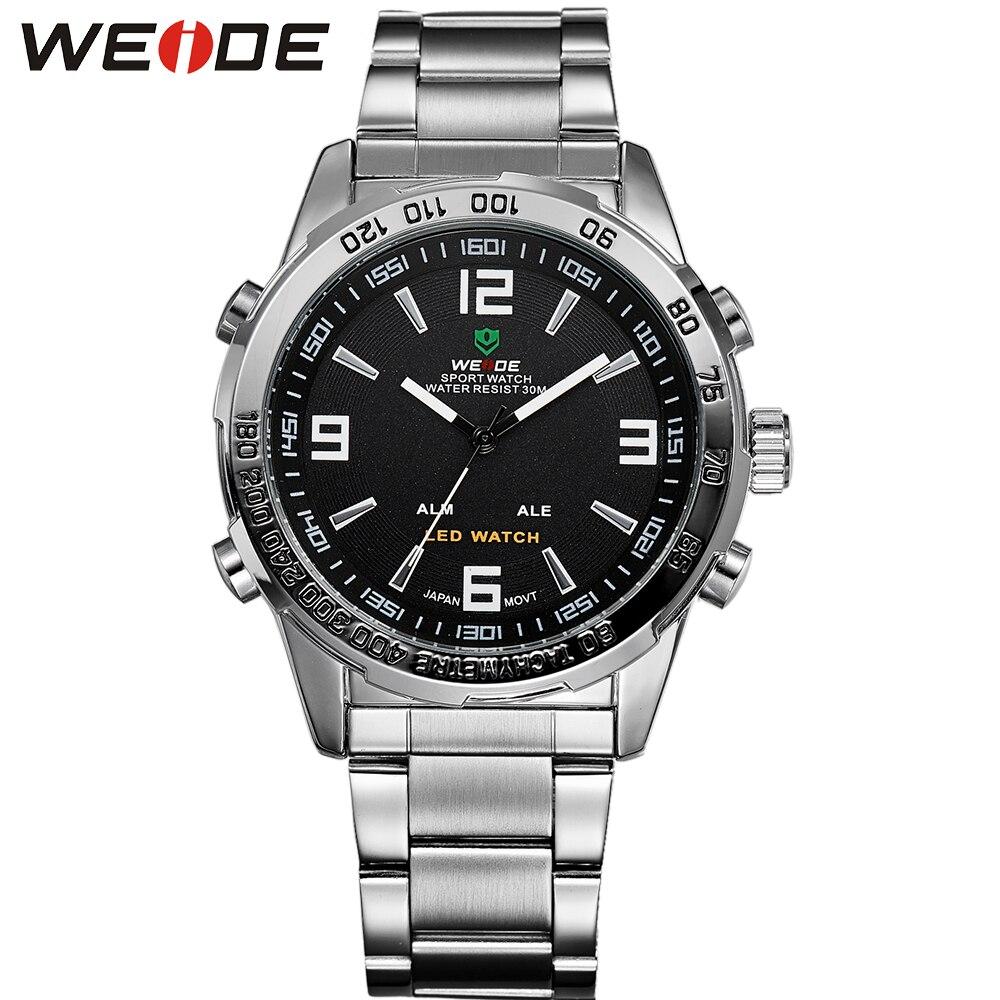 WEIDE Hommes Sport Montre Numérique Quartz D'affaires Cadran Noir Montre-Bracelet Étanche Horloge Militaire Armée Relogio Masculino Nouveau 2018