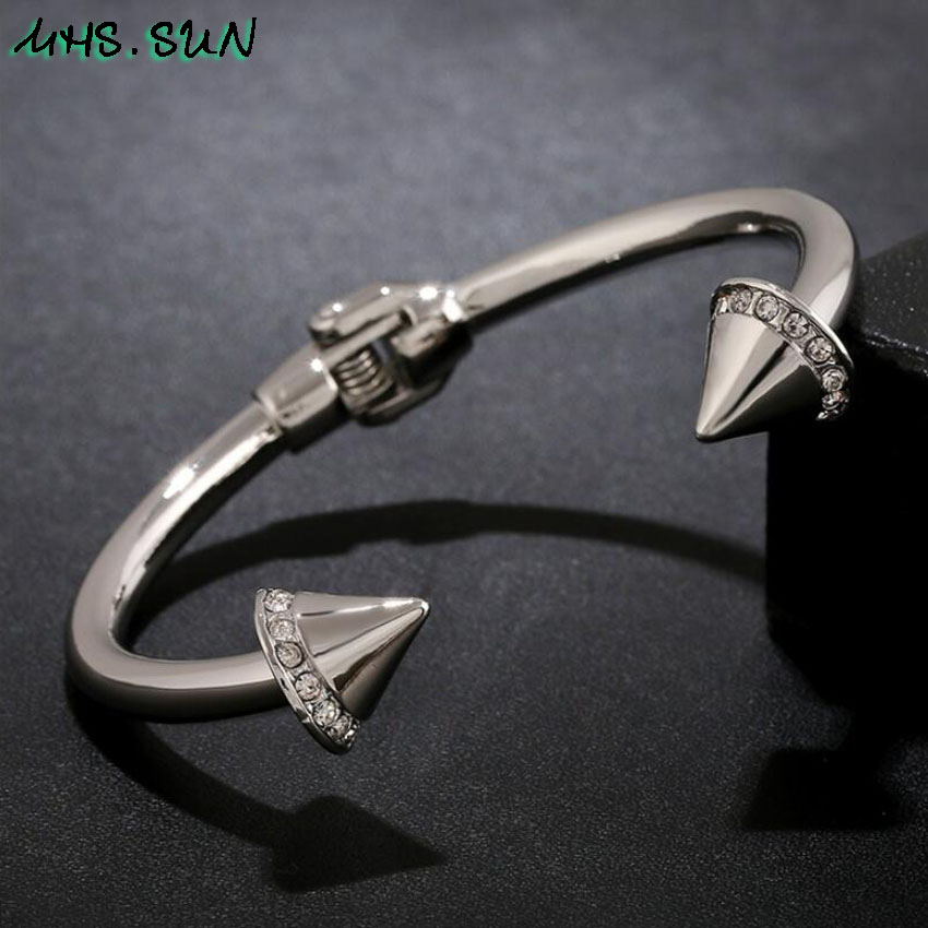 4-11Pcslot Fashion Women Open Bangle Rose GoldSilver Color Personality Crystal Bangle Exaggerated Jewelry For Female