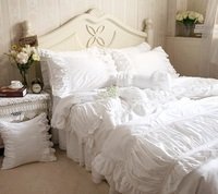 Luxury White Ruffle Bedding White Ruffle Comforter White Bedding Holiday Bedding Lace Cotton Bedding Set Queen